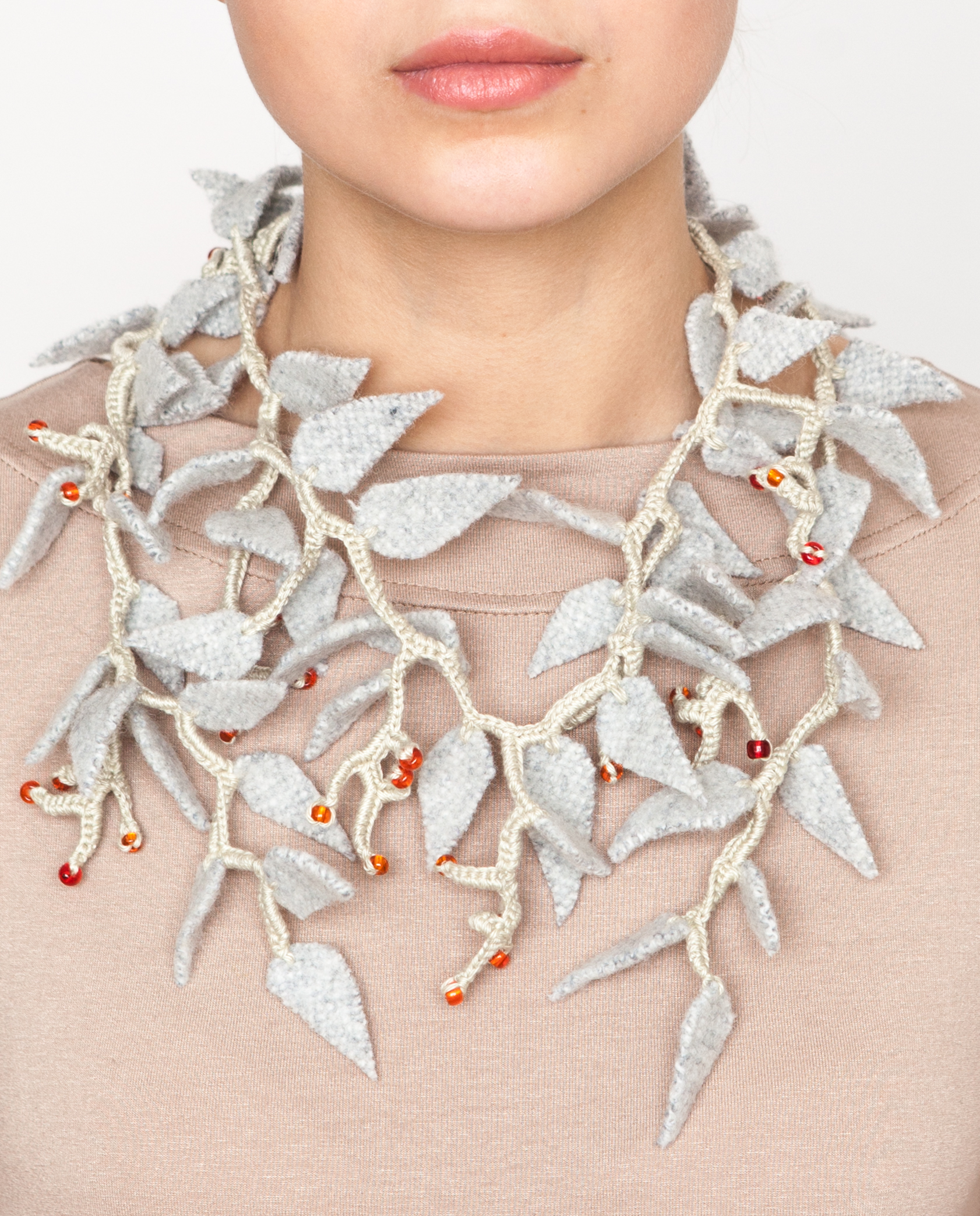 Soft necklace with red berries