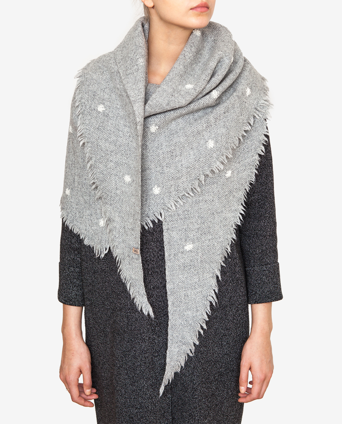 Shawl with white dots