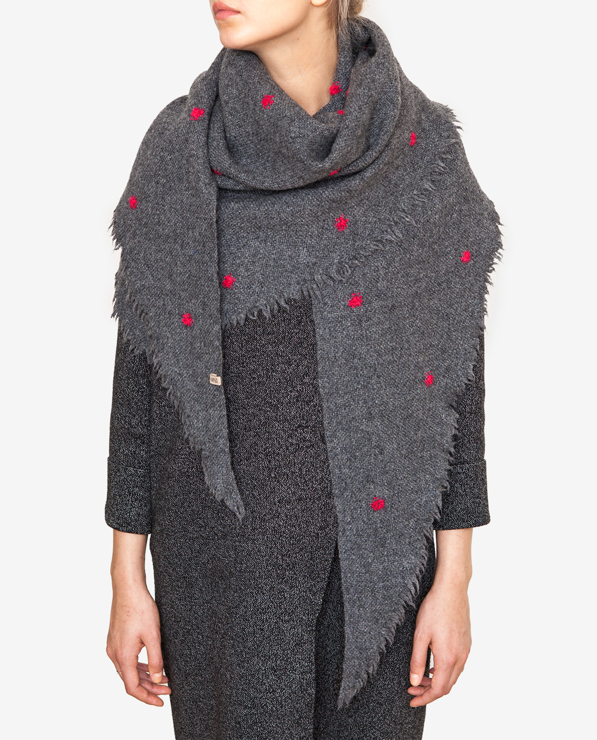 Shawl with red dots