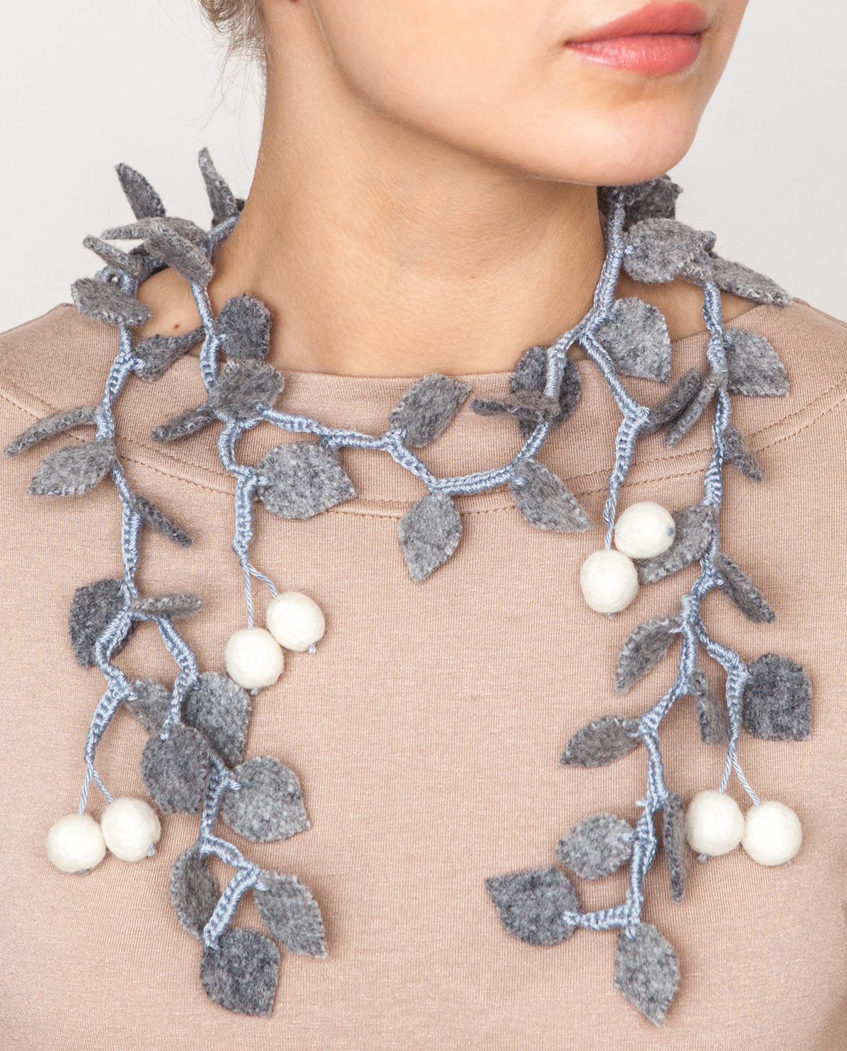 Necklace with white cherries